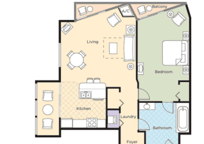 1B Deluxe Floor Plan