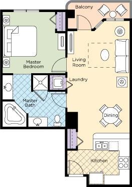La Cascada 1B Floor Plan