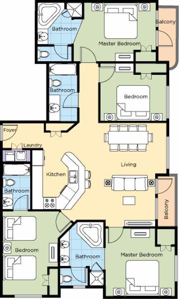 La Cascada 4B Floor Plan